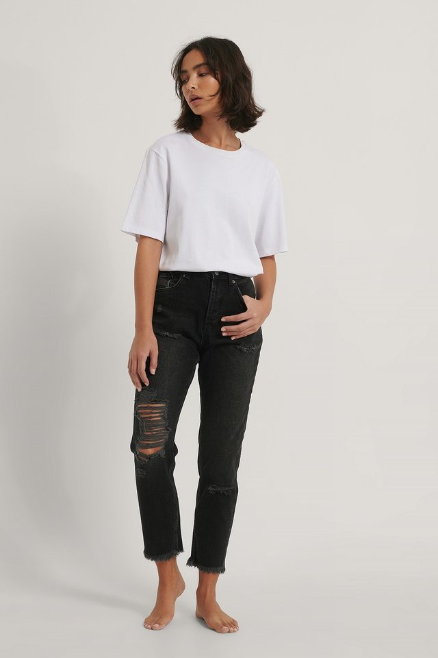 Organic Ripped Detail Mom Jeans Black.
