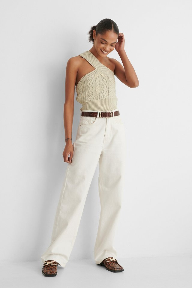 One Shoulder Cable Knit Top Beige.