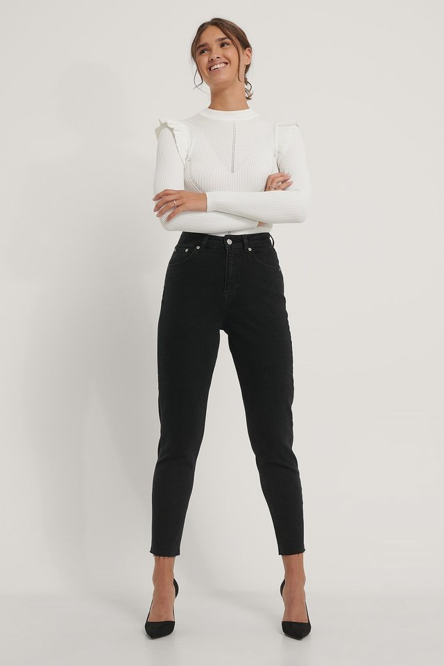 Raw Hem Mom Jeans Black.