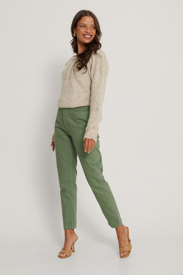High Waist Mom Jeans Green.