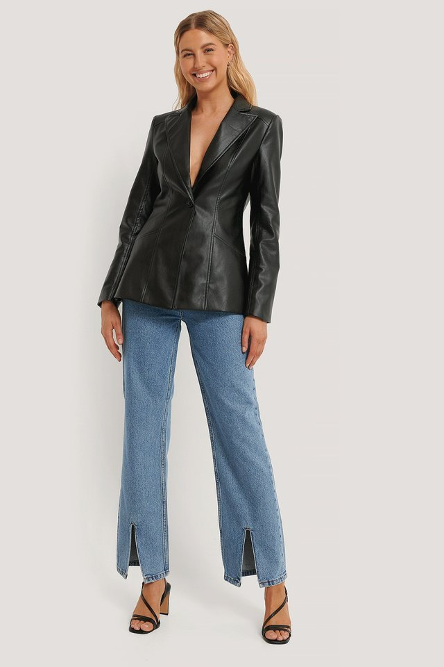 PU Detail Blazer Outfit.