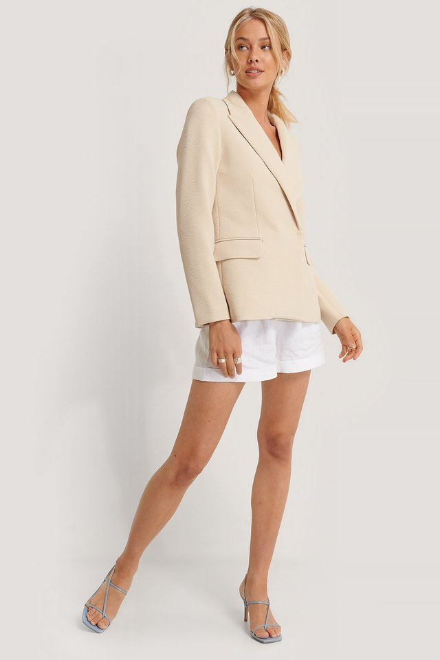 Structured Asymmetric Blazer Outfit.