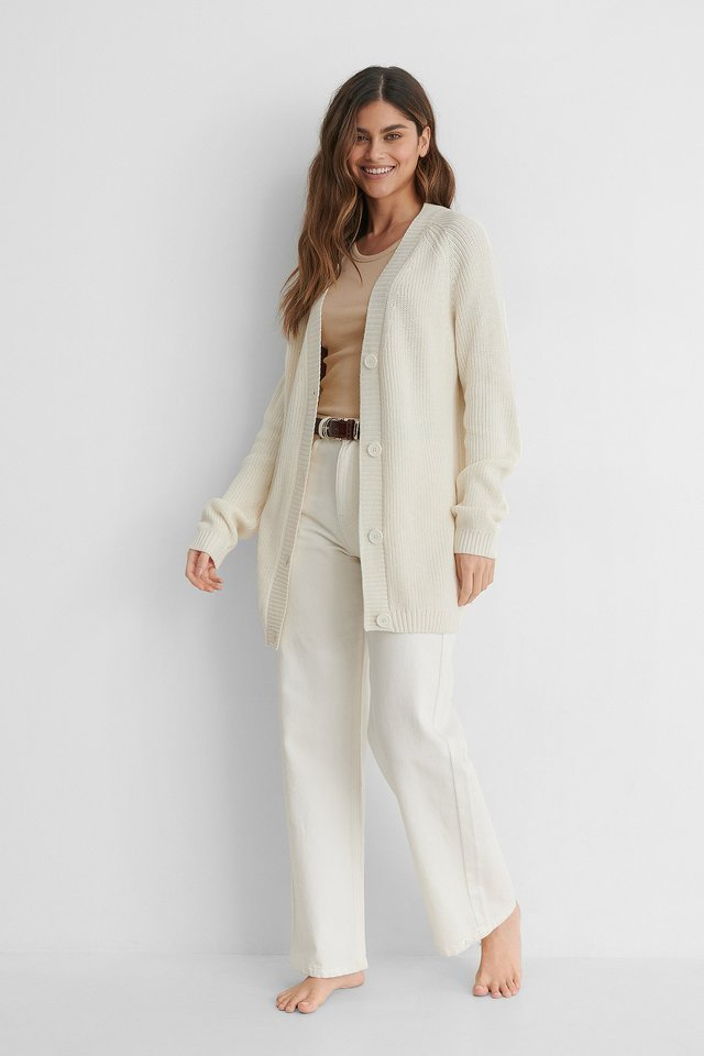 Big Button Knitted Cardigan Outfit.