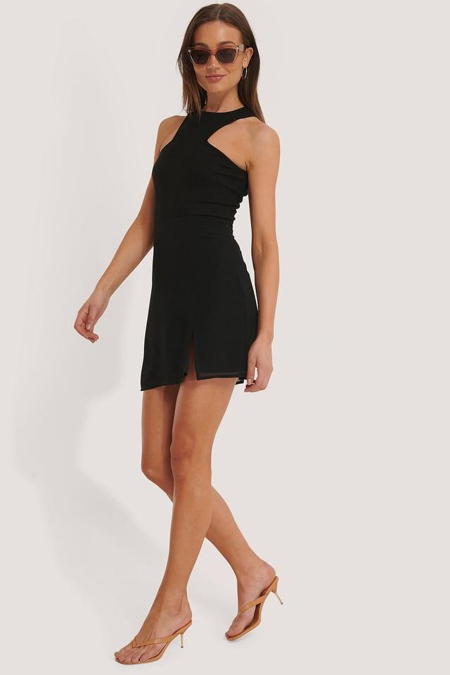 Mini Slit Skirt Outfit.