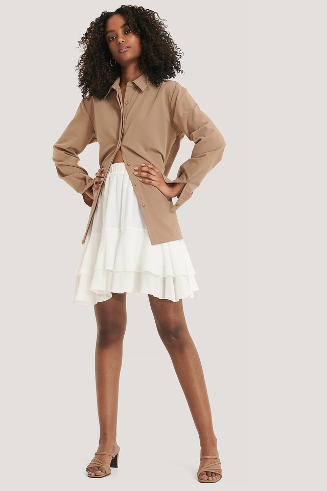 Structured Flounce Mini Skirt Outfit.