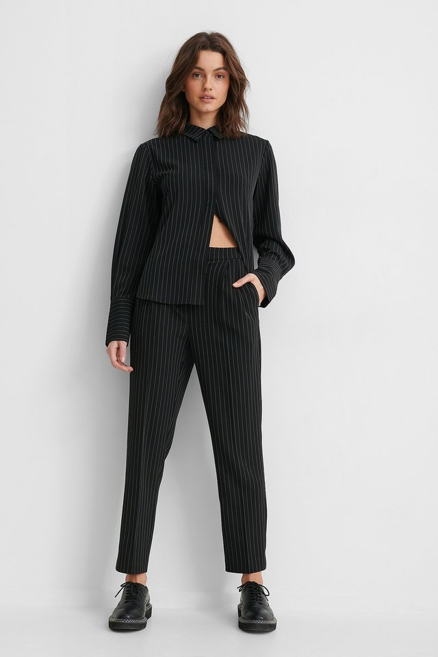 Pinstriped Cropped Suit Pants Outfit.