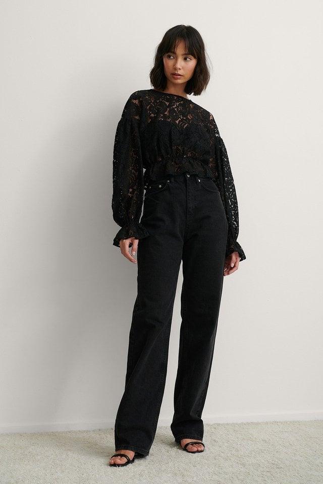 Black Balloon Sleeve Lace Blouse