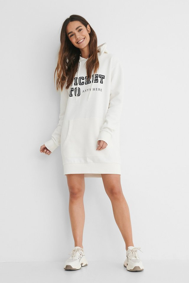 Printed Oversized Hoodie Dress Outfit.