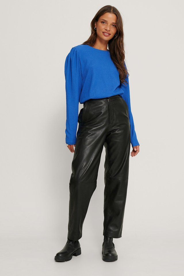 Crepe Puff Shoulder Top Outfit.