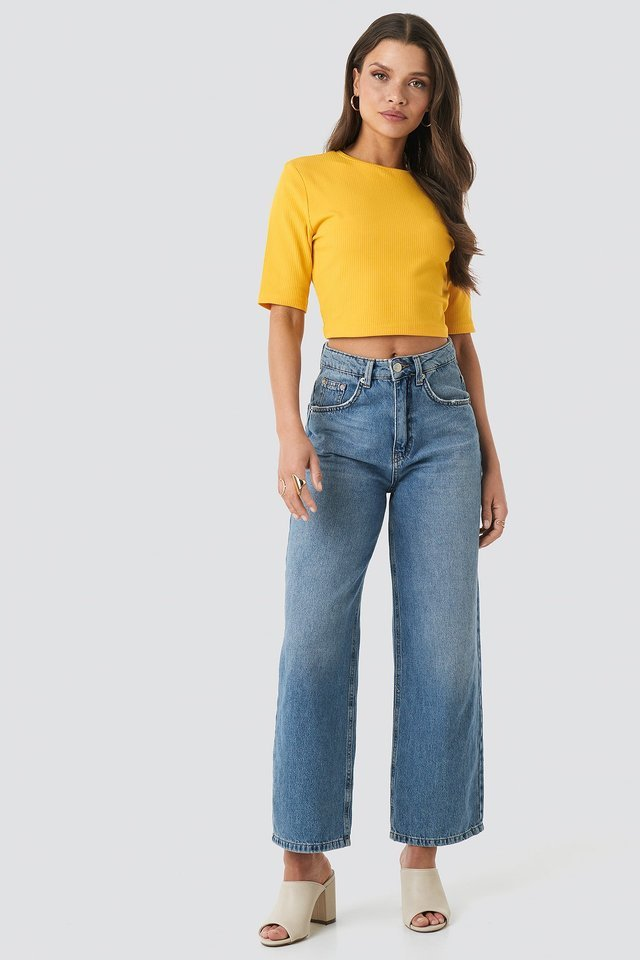 Ribbed Cropped Top Outfit.