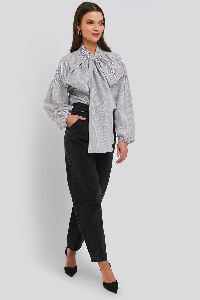 Black/White Stripe Puff Sleeve Pussy Bow Shirt