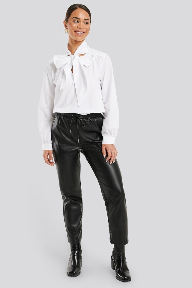 Pussy Bow V-neckline Shirt Outfit.