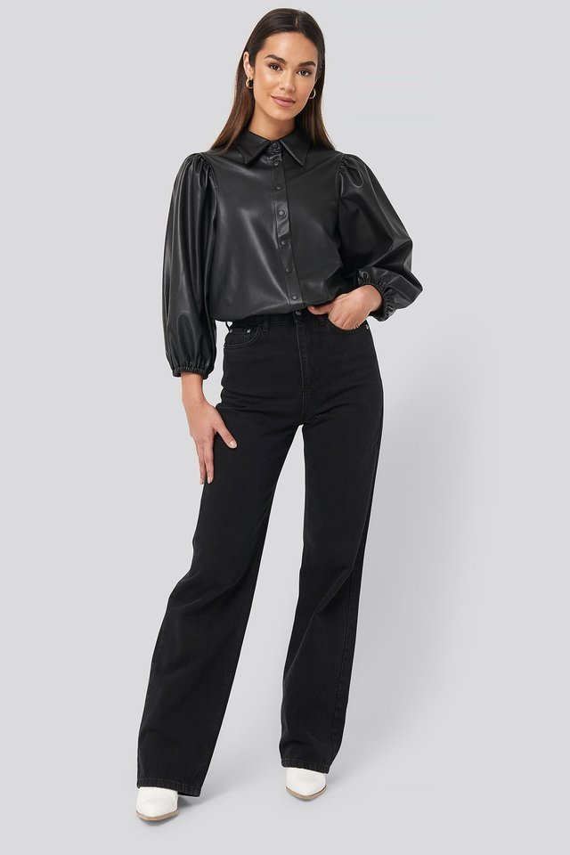 Faux Leather Puff Sleeve Shirt Outfit.