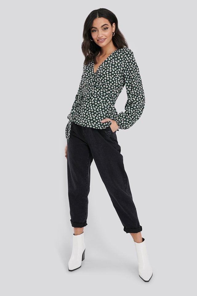 Printed Overlap Blouse Outfit.