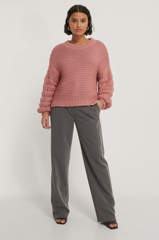Bubble Sleeve Knitted Sweater Outfit.