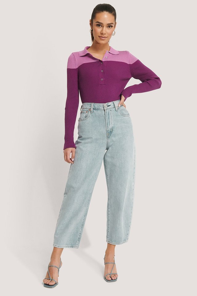 Buttoned Polo Neck Sweater Outfit.