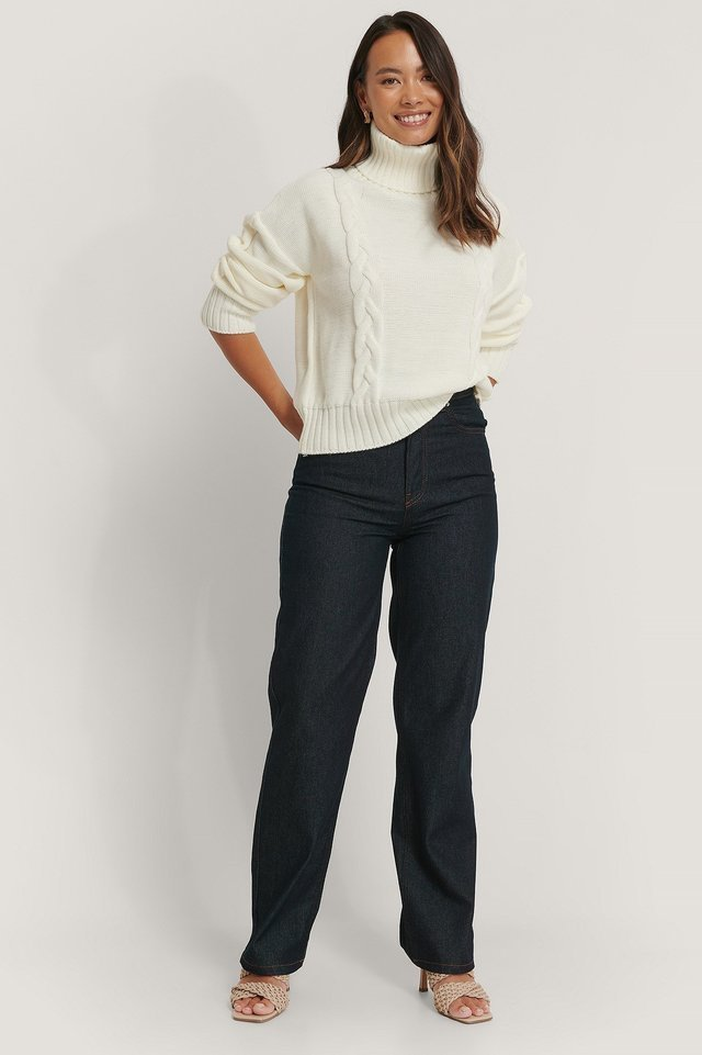 Cable Knit High Neck Sweater Outfit.