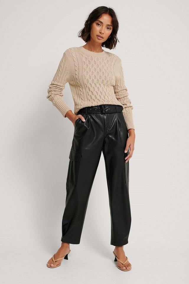 Cable Knit Round Neck Sweater Outfit.