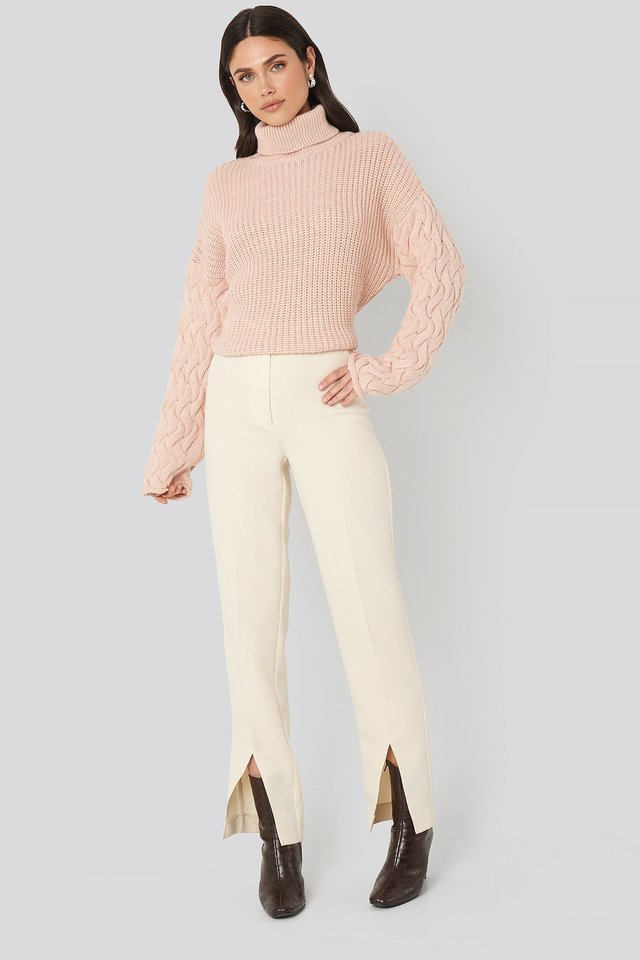 Cable Sleeve High Neck Sweater Outfit.