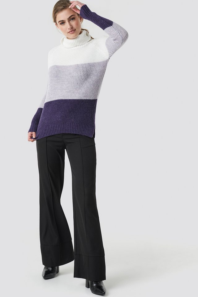 Color Blocked High Neck Sweater Outfit.