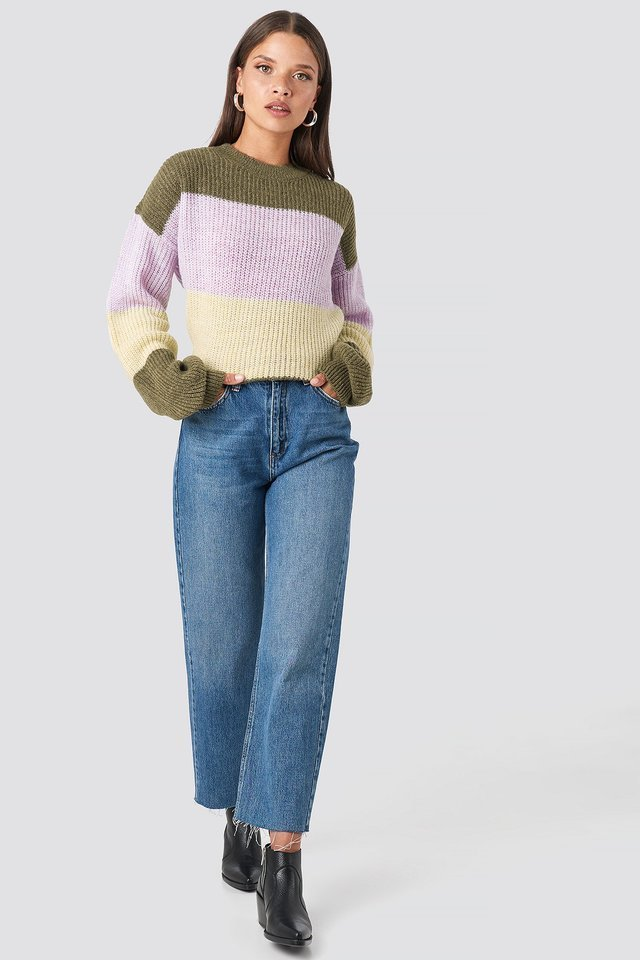 Color Striped Balloon Sleeve Knitted Sweater Outfit.