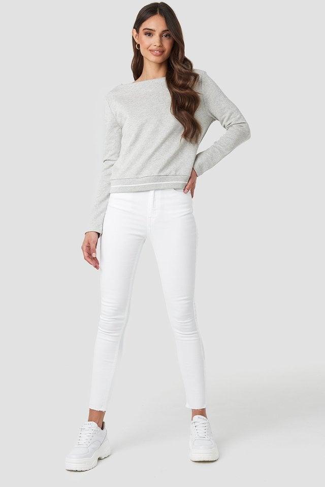 Contrast Rib Sweatshirt Outfit.