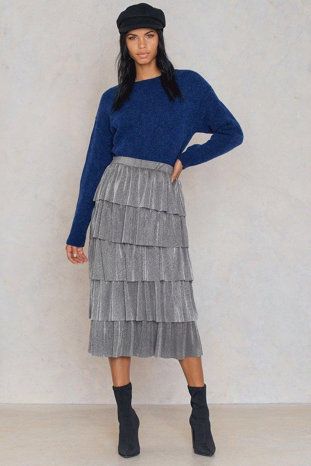 Silver Flounce Sequins Midi Skirt