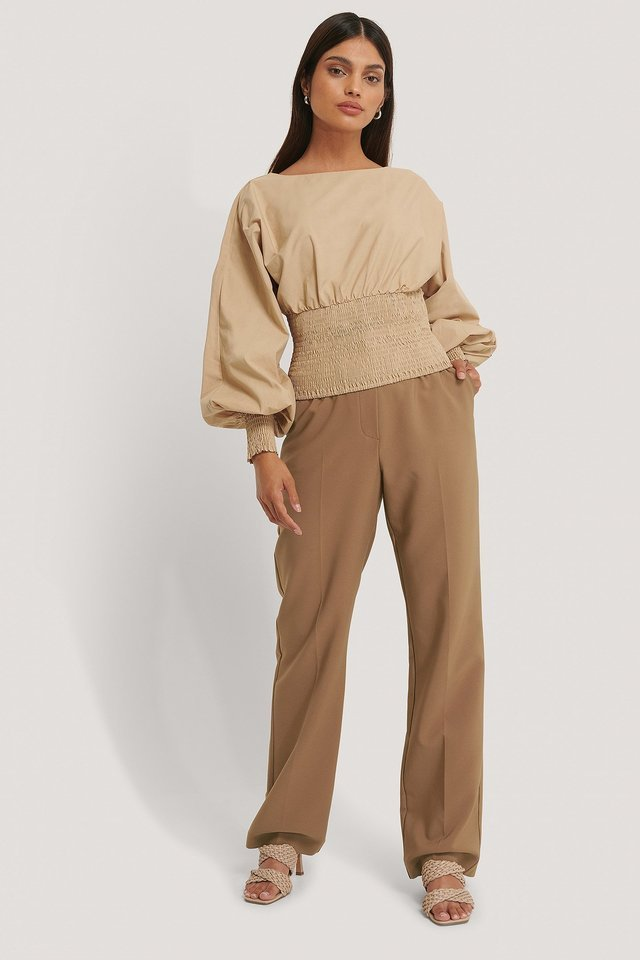 Balloon Sleeve Smock Top Outfit.