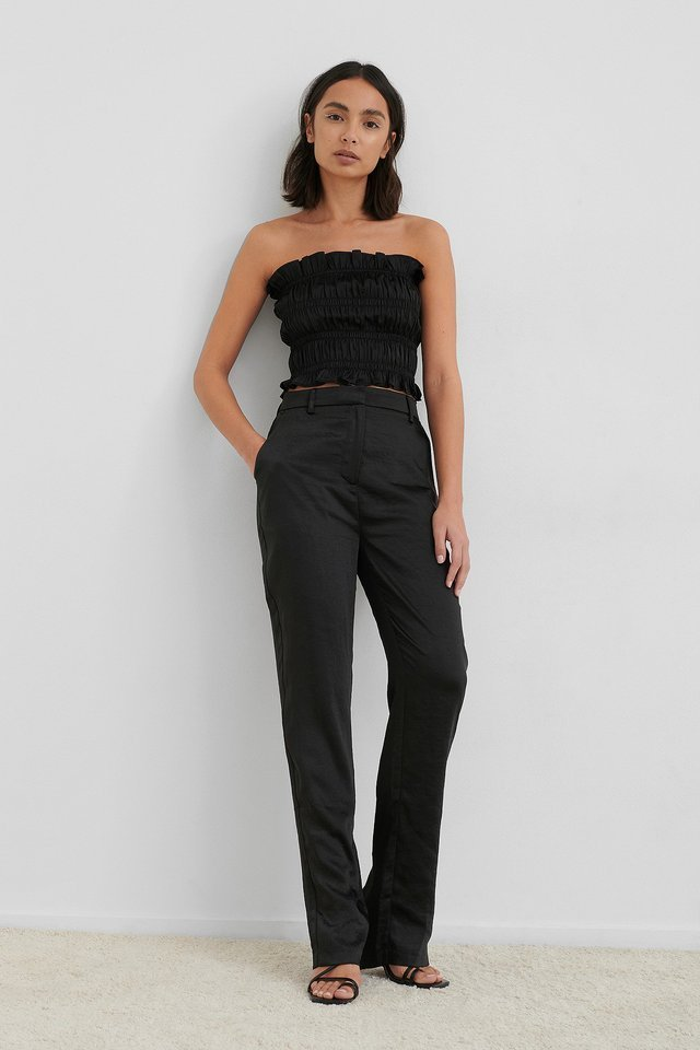 Black Split Back Straight Pants