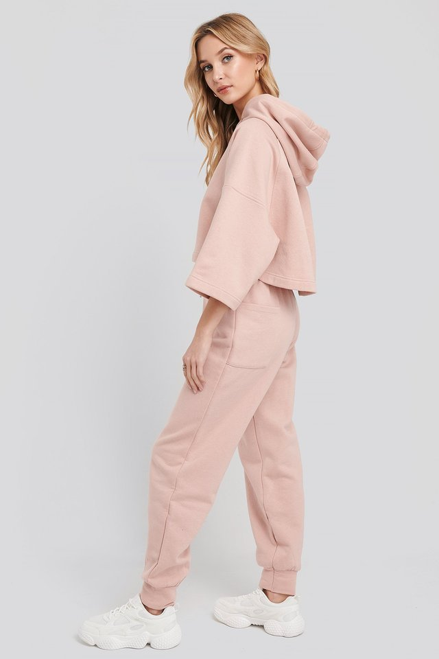 Pink Half Sleeve Cropped Hoodie