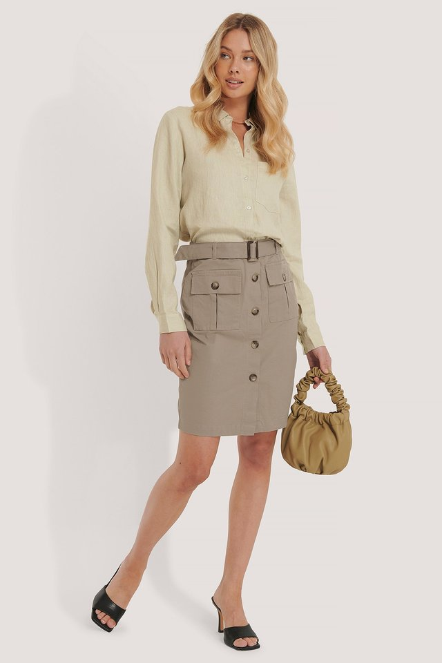 Belted Cargo Pockets Mini Skirt Outfit.