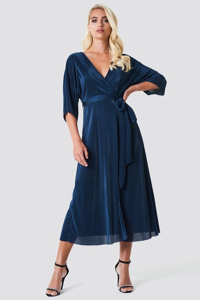 Midi Plunge Kimono Dress