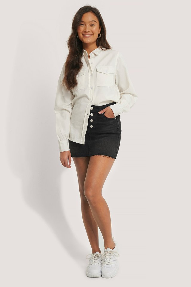 Black Mid Rise Mini Skirt