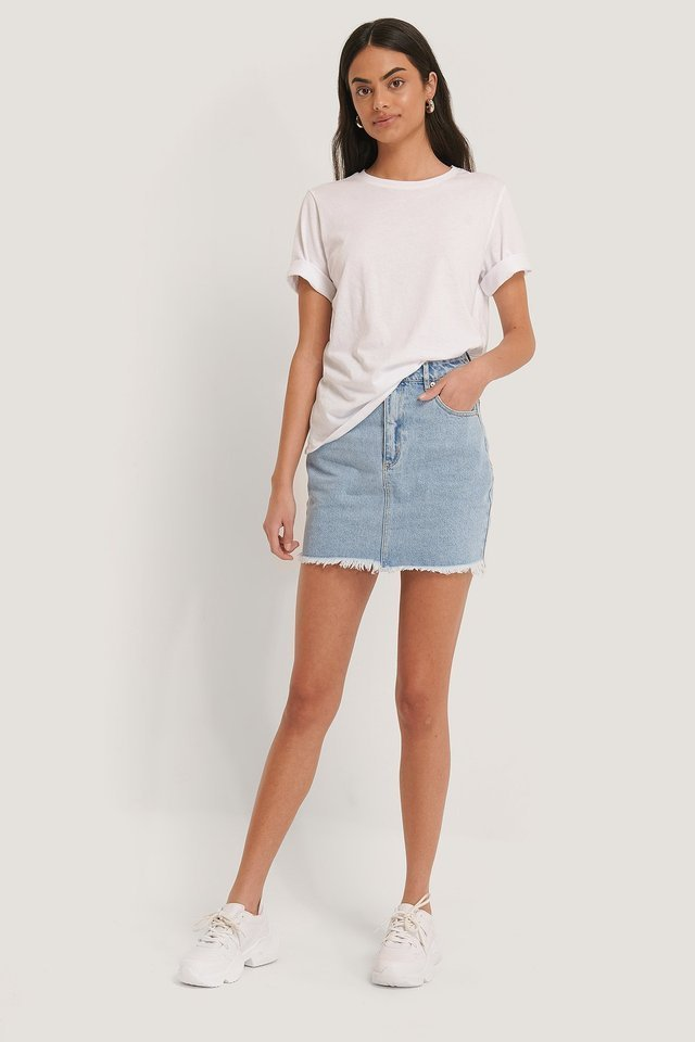 Esmeralda Raw Hem Denim Skirt