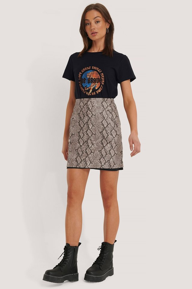 Snake Print Mini Skirt Outfit.