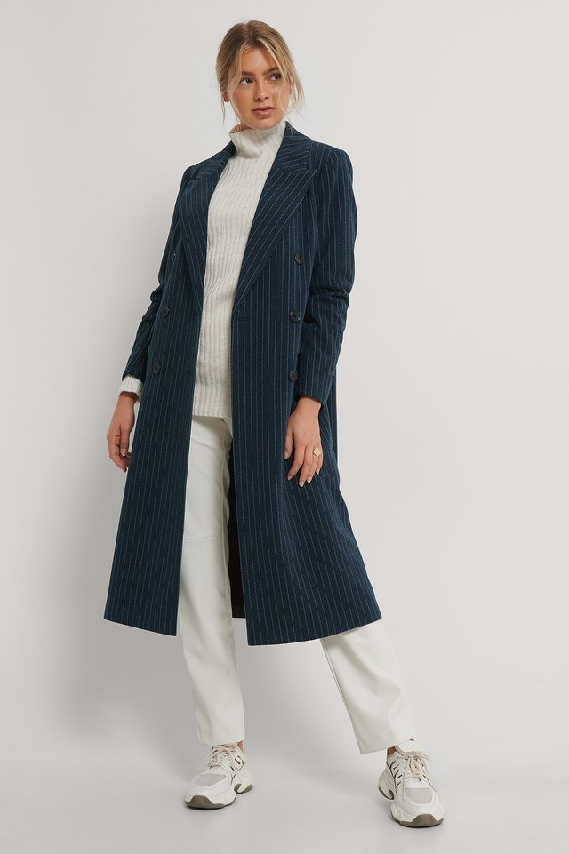 Striped Straight Coat Blue.