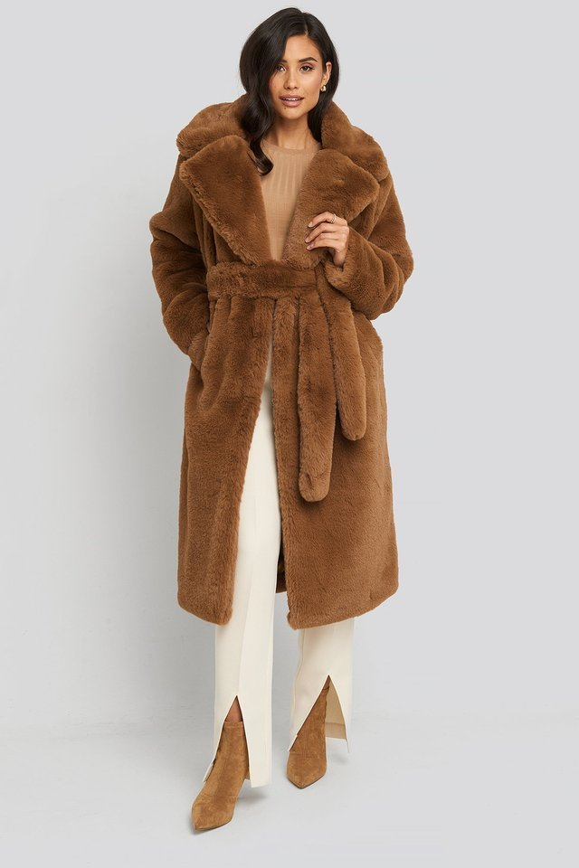 Soft Faux Fur Long Coat Brown Outfit.