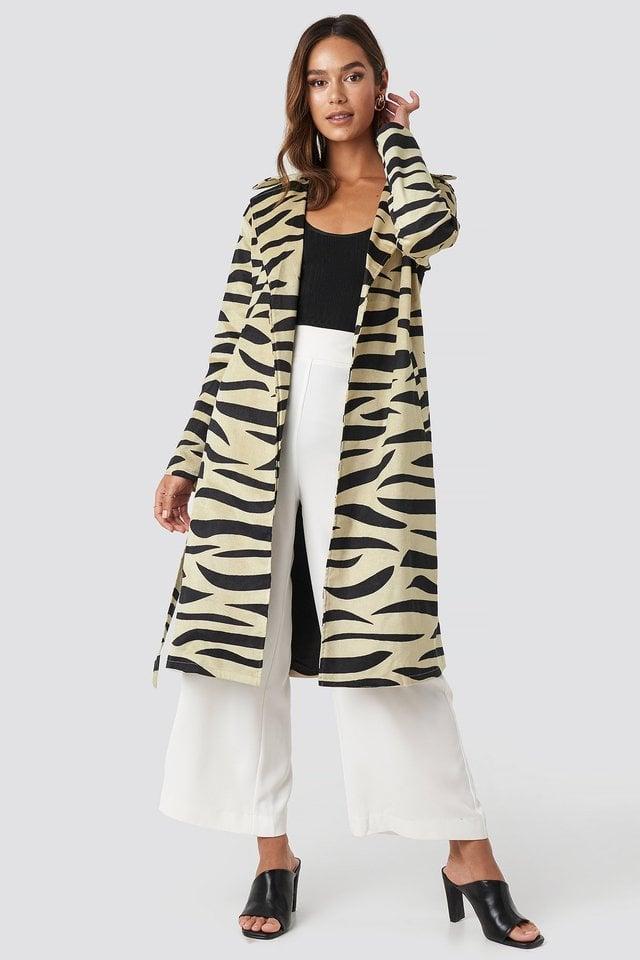 Zebra Printed Coat Beige Outfit.