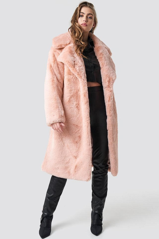Belted Faux Fur Midi Coat Pink Outfit.