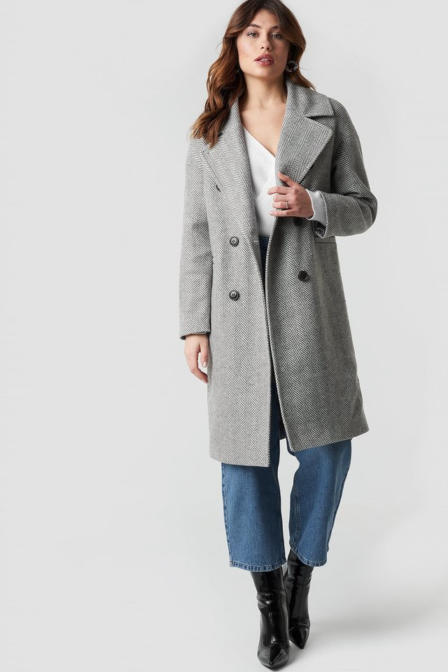 Herringbone Double Breasted Coat Grey Outfit.