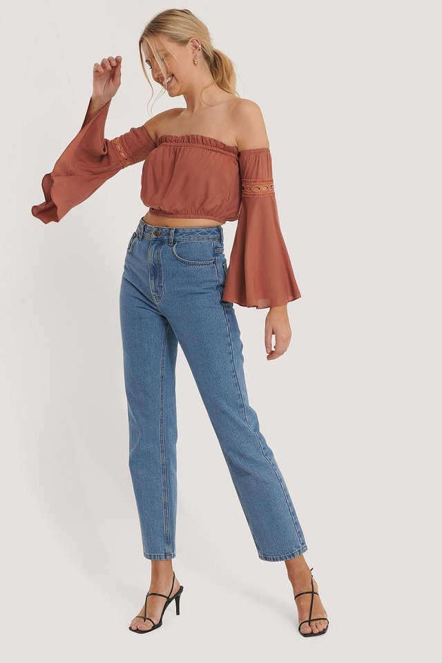 Off Shoulder Trumpet Sleeve Top Outfit.