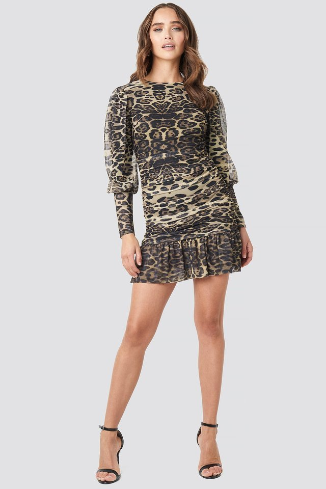 Leopard Drape Detailed Dress Outfit.