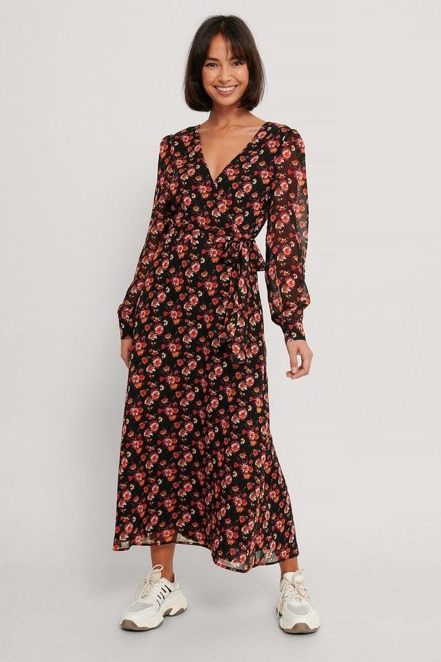 Front Wrap Chiffon Midi Dress Outfit.