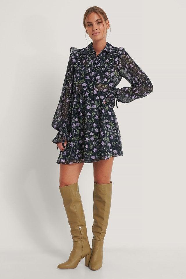 Western Detail Chiffon Dress Outfit.