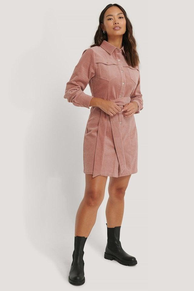 Dusty Pink Corduroy Belted Dress