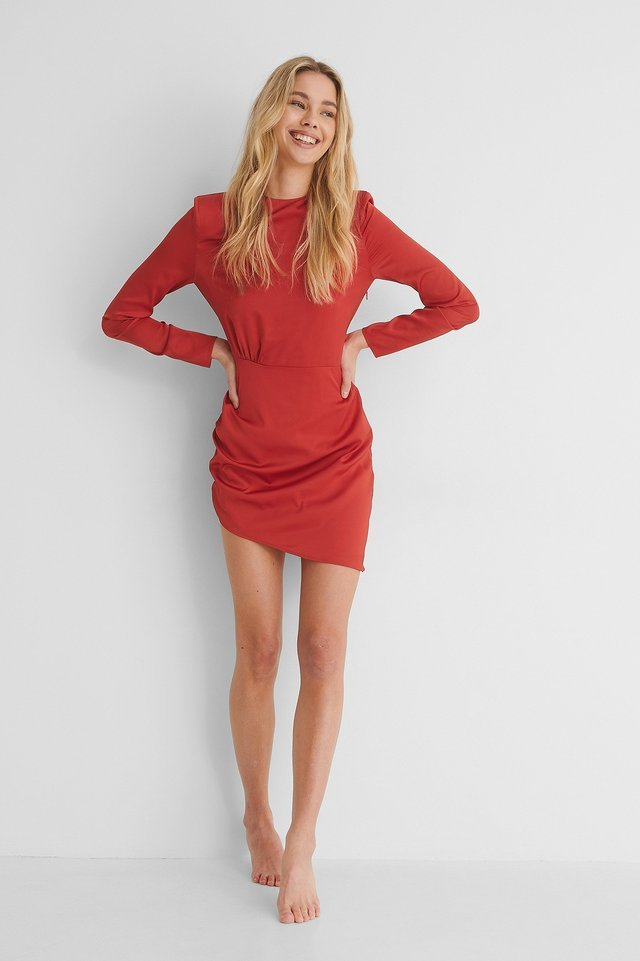 Marked Shoulder Draped Mini Dress Outfit.