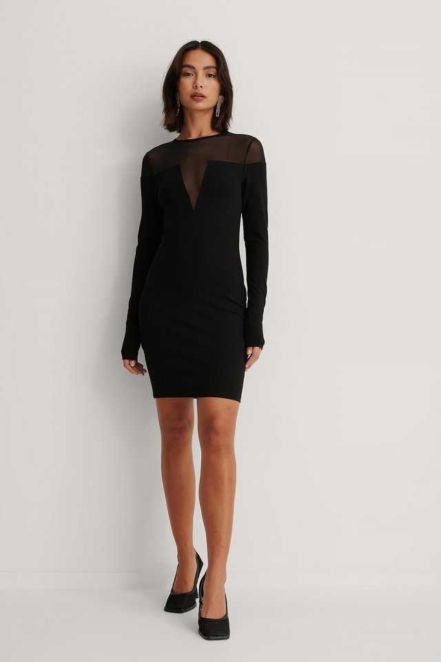 Mesh Detail Bodycon Dress Outfit.