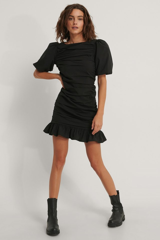 Ruched Checked Dress Outfit.