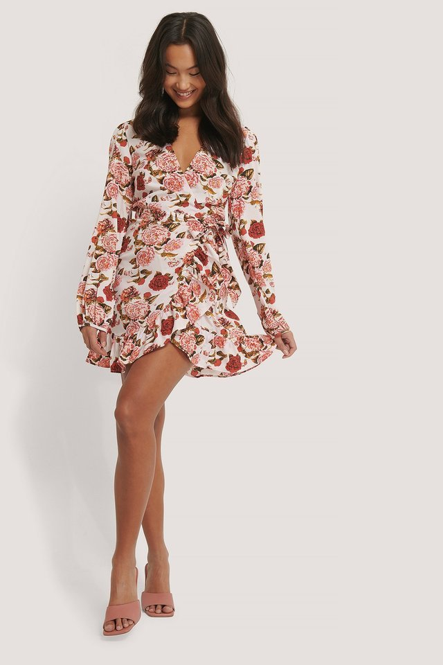 Wrapped Flounce Mini Dress Outfit.