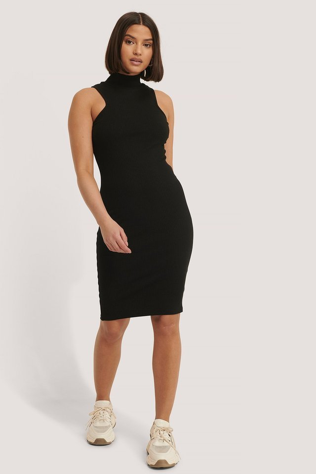 Open Back Rib Dress Outfit.